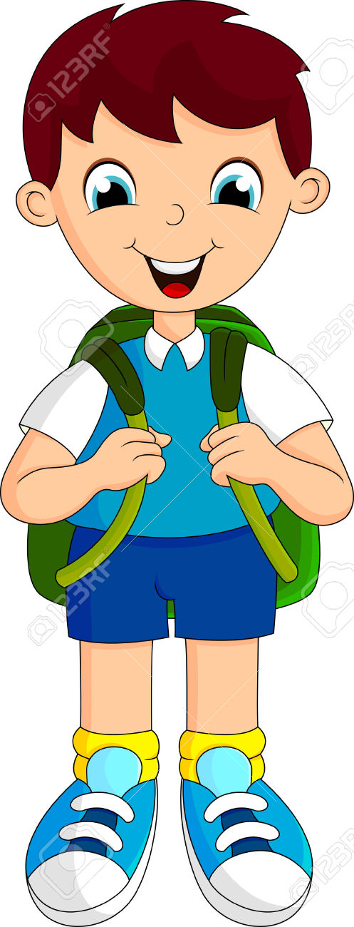 Boys Went To School With A Backpack Royalty Free Cliparts, Vectors.
