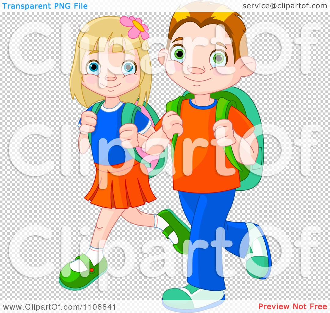 Clipart Boy And Girl Walking To School With Backpacks.