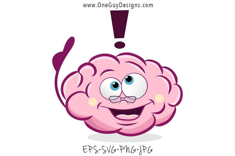 Cute Cartoon Brain Clipart.