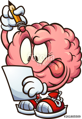 Cartoon brain looking at a piece of paper and thinking clip art.
