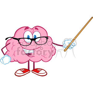 5811 Royalty Free Clip Art Smiling Brain Teacher Cartoon Character Holding  A Pointer clipart. Royalty.