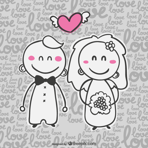 Vector wedding invitation card with cartoon bride and groom clipart.