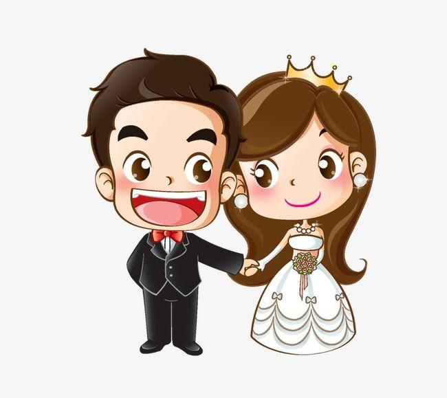 Cartoon Bride And Groom, Creative, Wedding, Cartoon PNG.