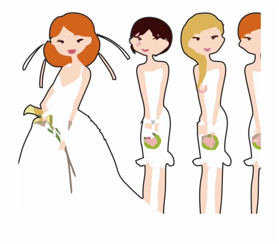 Vector Freeuse Stock Bride And Bridesmaid Clipart.