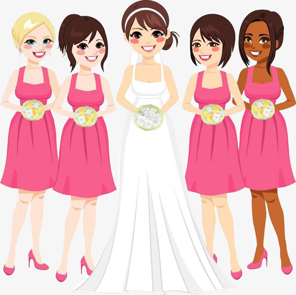 4 Bridesmaids One Bride, Bride, Cartoon, Marry PNG Transparent Image.