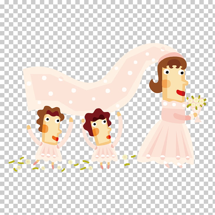 Wedding invitation Bridesmaid Marriage, Cartoon bride PNG.