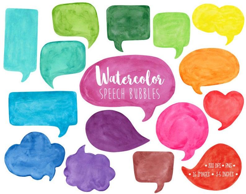Speech Bubble Clipart. Watercolor Speech Bubble Clip Art. Hand Painted  Thought Bubble Illustration. Colorful Watercolor Comic Speech Bubbles.