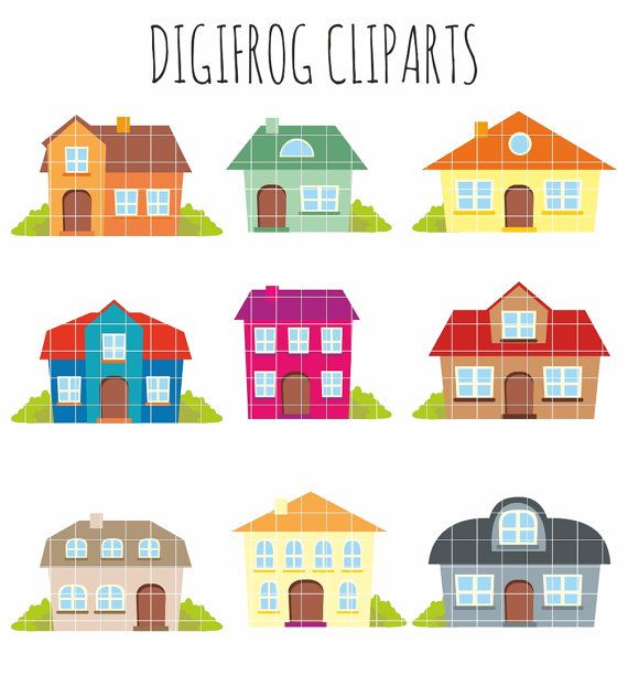 Colourful houses clipart cartoon buildings cute houses by DigiFrog.