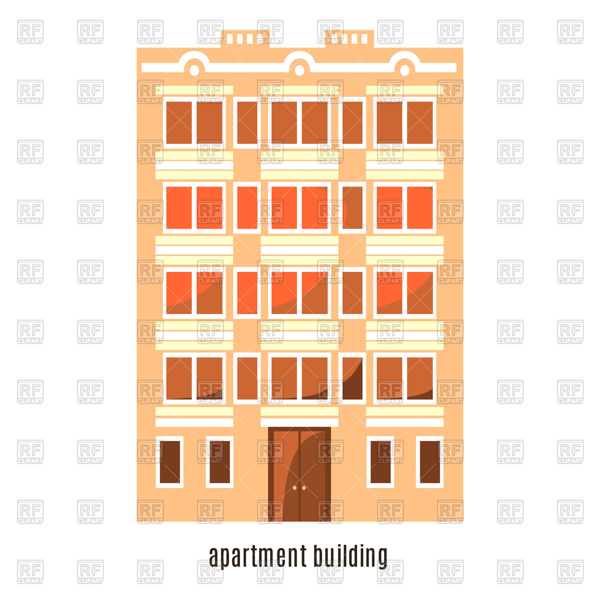 Flat house icon, multistorey cartoon building Stock Vector Image.