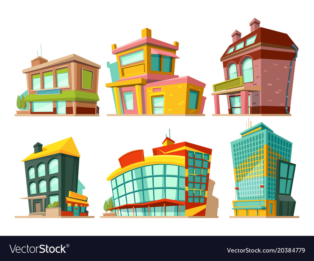 Cartoon buildings set.
