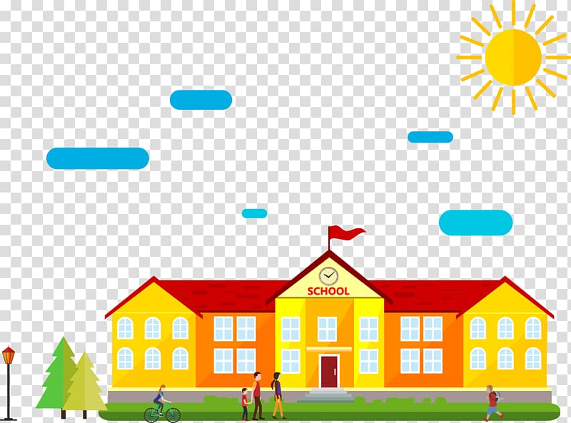 Yellow and red school building , Schoolyard Cartoon Drawing.