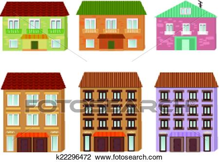 Collection of cartoon buildings Clipart.