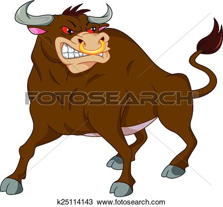 Clipart of angry bull cartoon k25114143.