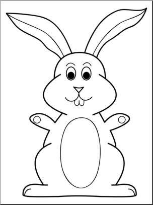 Clip Art: Cartoon Bunny 4 B&W I abcteach.com.