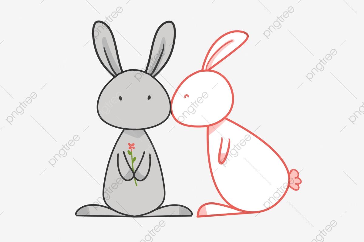 Gray Cartoon Bunny, Cartoon Clipart, Bunny Clipart, Hare PNG.