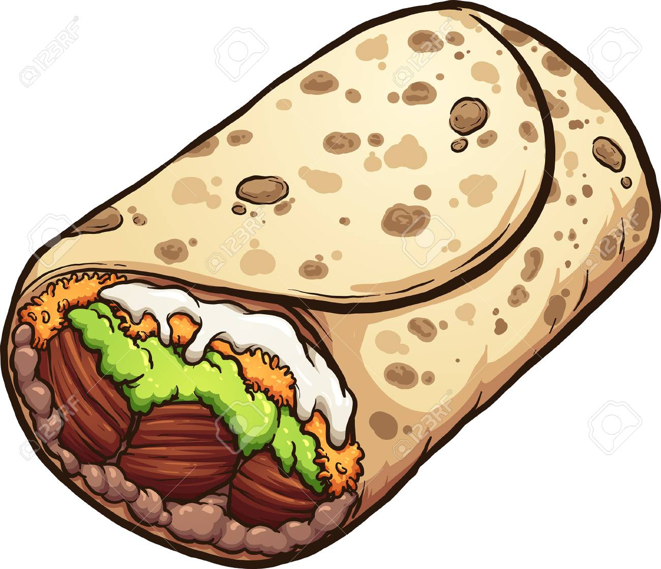Cartoon burrito Mexican food clip art. Vector illustration with...