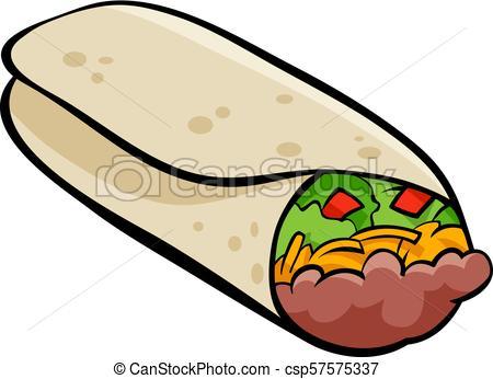 Mexican burrito tortilla cartoon illustration.