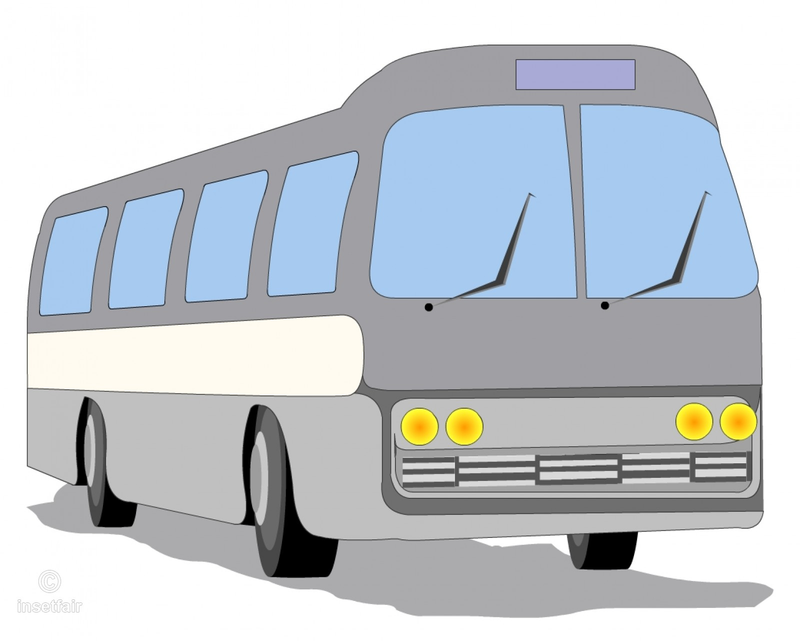 Vector Cartoon Bus Clipart PNG image.