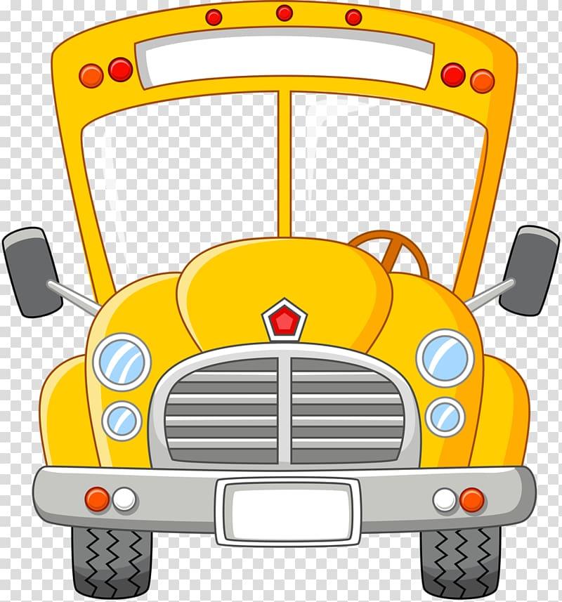 Yellow bus illustration, School bus Cartoon, school bus transparent.