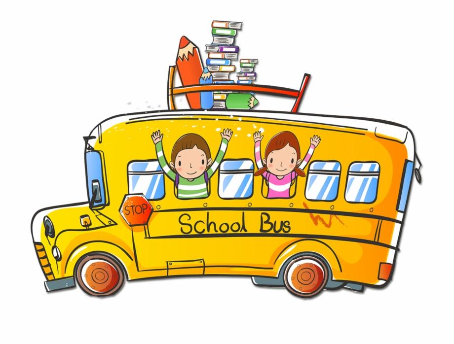 Cartoon School Bus Transparent Image.