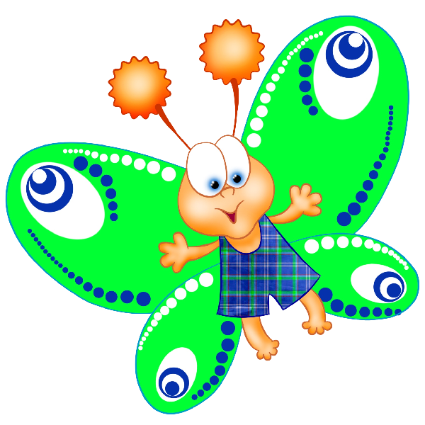 Funny Cartoon Butterfly Images. Clip Art Images Are On A Transparent.