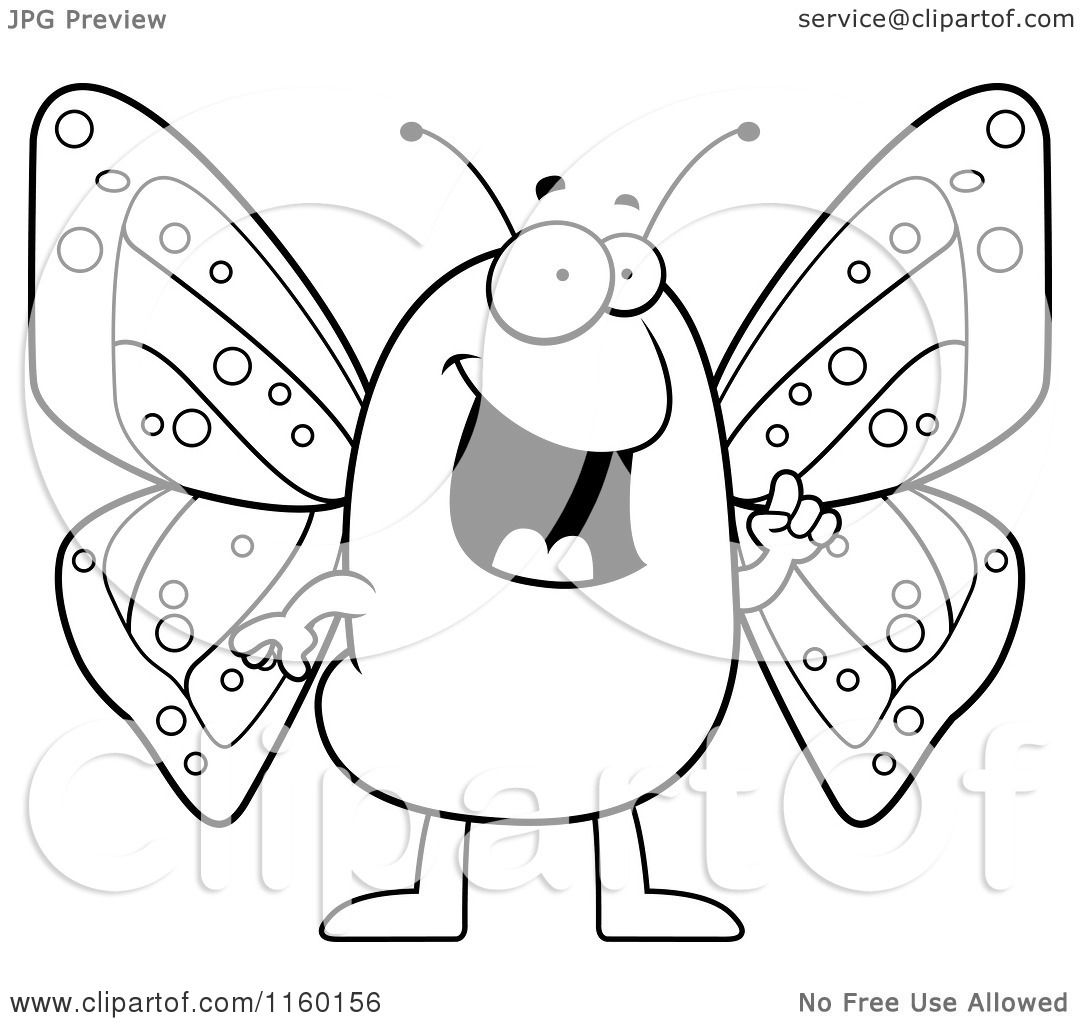 Cartoon Clipart Of A Black And White Happy Butterfly.