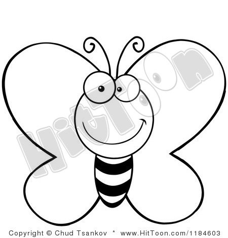 Butterfly Cartoon Clipart Black And White.