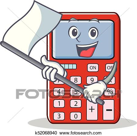 With flag cute calculator character cartoon Clipart.