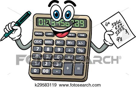 Cartoon calculator with pen and note Clip Art.