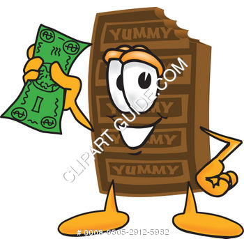 Clipart Cartoon Chocolate Bar Holding Money.
