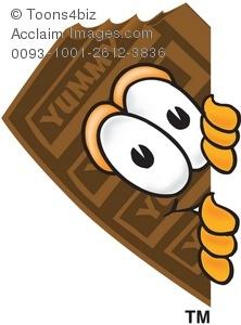 Clipart Cartoon Chocolate Bar Peeking Out.