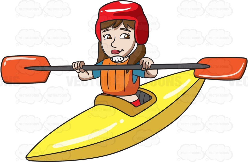 A woman paddling a kayak #cartoon #clipart #vector.