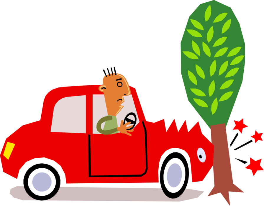 Vector Illustration Of Car Motorist Driver Has Accident.