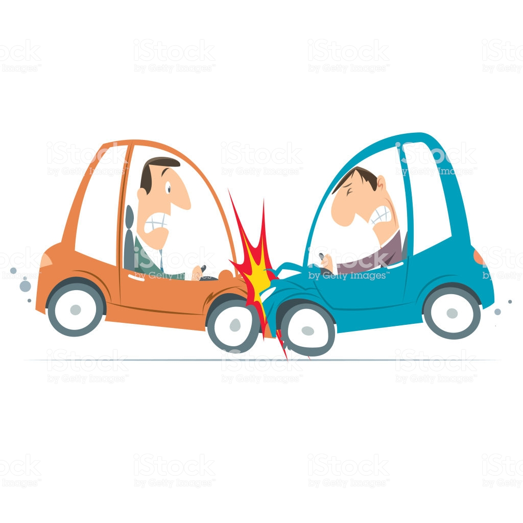 Cartoon Car Crash Stock Illustration.