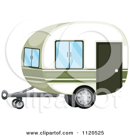 Cartoon Of A Caravan Travel Trailer.