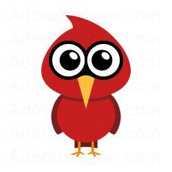 Cute cardinal clipart from Adorabletoon.com.