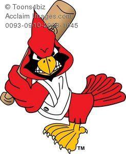 Clipart Cartoon Cardinal Playing Baseball.
