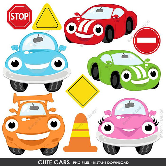 Cute Cars Clipart, Transportation Clip Art, On the Road, Road Sign.