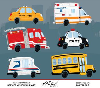 Cute Service Cars Digital Clip Art.