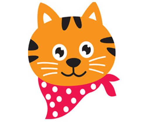 Cute Cartoon Cat Face Clipart.