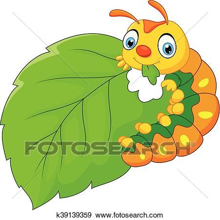 Cartoon caterpillar eating leaf Clip Art.