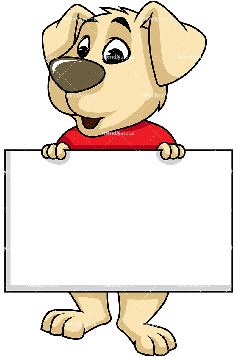 Dog Mascot Holding Sales Sign Cartoon Vector Clipart.