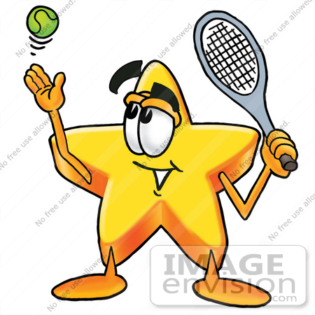 Clip Art Graphic of a Yellow Star Cartoon Character Preparing to.