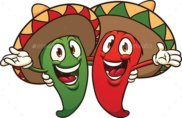 Happy cartoon Mexican chili peppers.Vector clip art illustration.