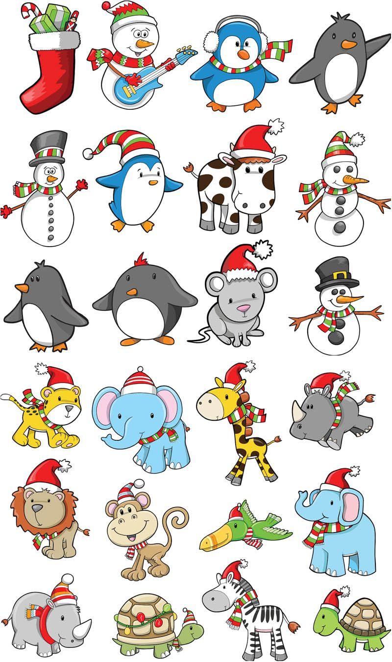 Cartoon #Christmas animals #vector.