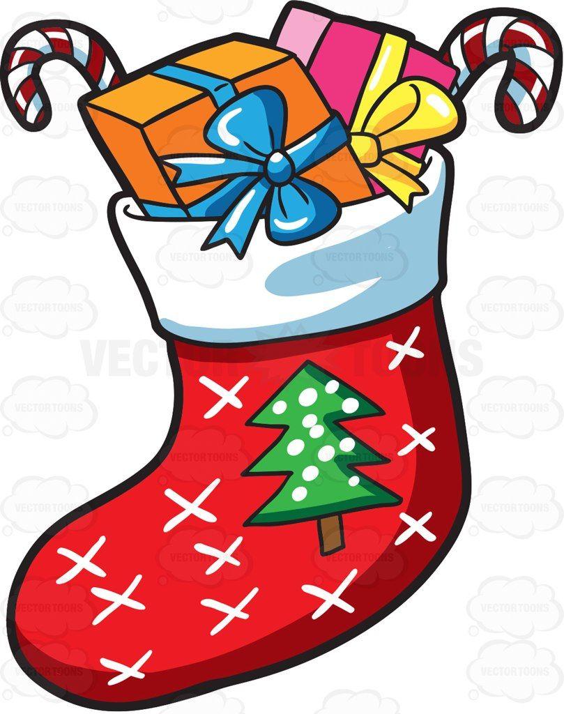 A Christmas sock with presents #cartoon #clipart #vector.