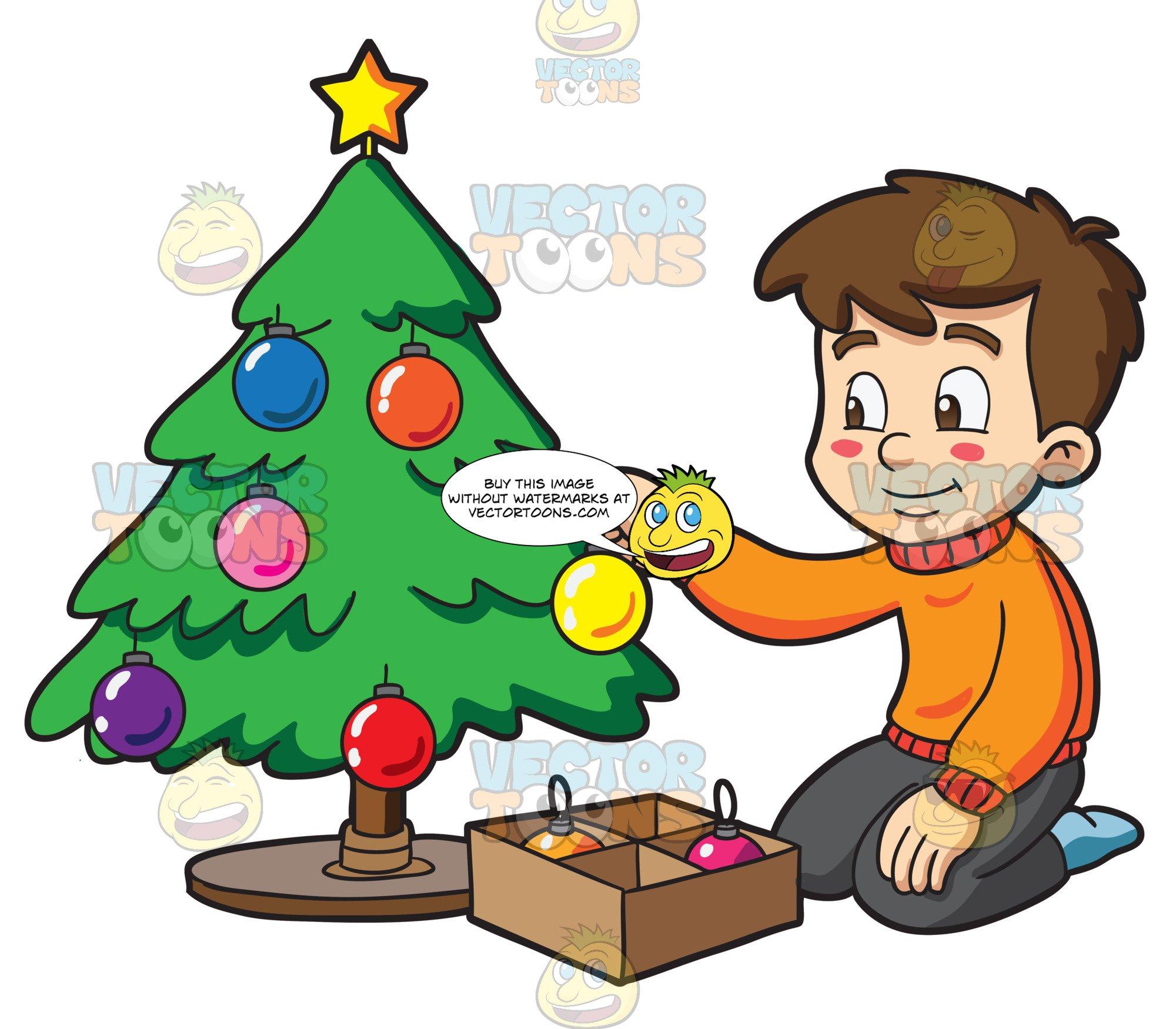 A Boy Decorating A Christmas Tree.
