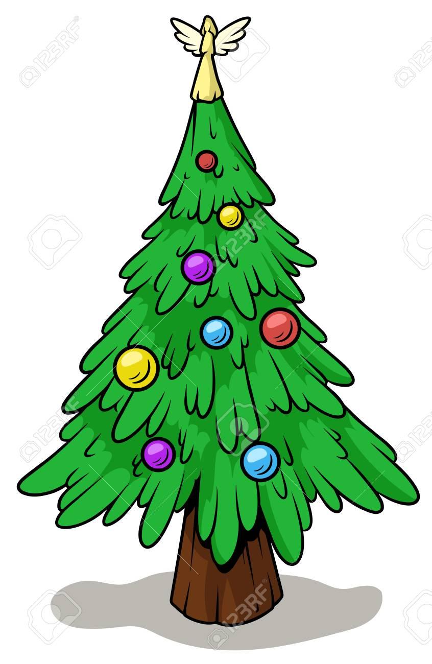 Cartoon christmas tree with angel on top.