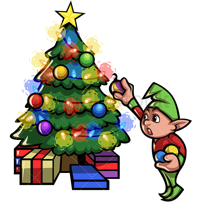 Elf Decorating Christmas Tree Cartoon Vector Clipart.