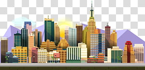 Chicago Night City Skyline Illustration, Cartoon night sky city.